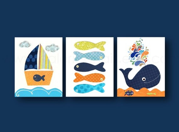 Nautical Nursery Art Whale Bathroom Art Boat Fish By