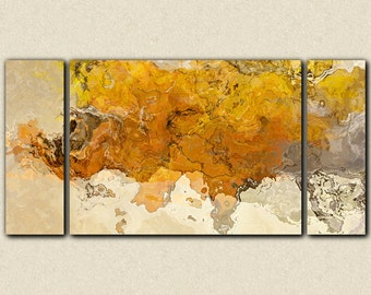"Large triptych abstract expressionism stretched canvas print, 30x60 to 40x78 in golden yellow, from abstract painting ""Early This Morning"""
