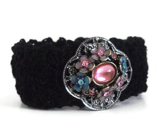Black Thead Crochet Cuff Bracelet Handmade And Lined Hypoallergenic With Jewel Accent