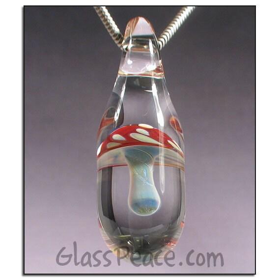 SALE - Glass Jewelry Magic Mushroom Pendant - boro lampwork shroom bead - Glass Peace glass jewelry (5047)