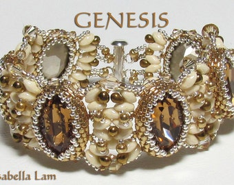 GENESIS Swarovski Oval Fancy Stones and SuperDuo Beadwork Bracelet tutorial instructions for personal use only