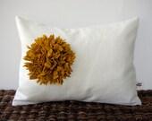 Mustard Yellow Felt Flower Pillow Cream Linen 12in x 16in PILLOW COVER by JillianReneDecor - Honey Gold Floral