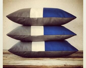 Indigo Blue Colorblock Pillow Cover - Stripe Trio Cobalt Gray White Monaco Blue