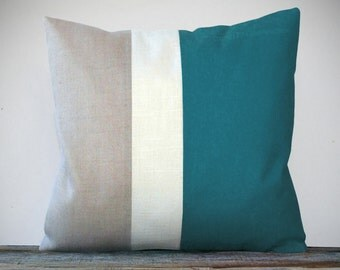 20in Color Block Pillow in Teal, Cream and Natural Linen by JillianReneDecor Winter Home Decor Colorblock Striped Trio Gift for Her