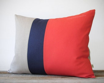 16x20 Color Block Pillow in Coral, Navy and Natural Linen by JillianReneDecor - Home Decor - Striped Trio - Custom Colors - Cayenne