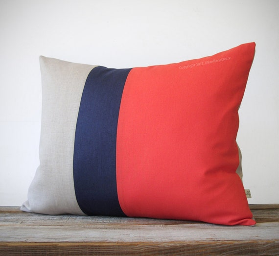 16x20 Color Block Pillow In Coral Navy And By JillianReneDecor