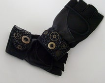 Mens Black Fingerless Exercise Gloves / EXTRA LARGE / Black Wrist Wrap Vegan Leather & Suede / Steampunk Gift Under 40 / Made To Order