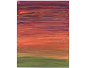 black plum guava aurora, an original 8X10 inch abstract acrylic painting by Sarah Knight, purple red orange green color
