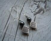Celtic Earrings, Hematite, Swarovski Black Diamond, Drop Earrings, Scottish Jewelry, Scottish Gift, Birthday, Mothers Day