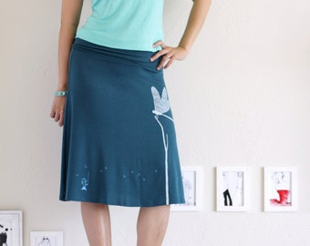 Knit Skirt, Women jersey skirts, Teal Blue A-line skirt, mid length skirt, Midi plus, Graphic skirts - Catching the Dragonfly