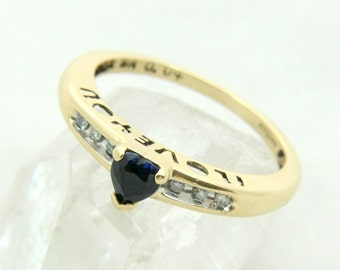9K Gold Ring, 9ct Gold Ring, I Love You Ring, Sapphire Ring, Diamond Ring, Heart Ring, US Ring Size 6, Uk Ring Size L Half, Engagement Ring