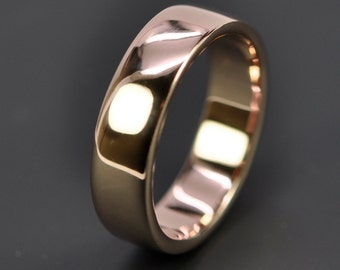 Rose Gold Wedding Band, 14K Gold Ring, 6mm Wide by 1.75mm Thick, Sea Babe Jewelry