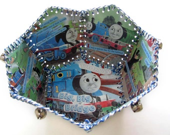Paper Basket, Vintage Little Golden Book, Thomas and the Big, Big Bridge