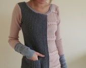 XS/S upcycled jumper in pale pink and gray wool - extrasmall / small