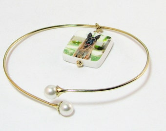 14K Gold Flex Bangle Bracelet with Custom Photo Charm - Small - P3RB4G