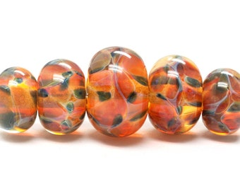 Handmade Glass  Lampwork Beads  Sets - Five Graduated Green & Orange Rondelle Beads - 10504711