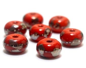 Handmade Glass Lampwork Bead Set - Seven Electric Orange Metallic Rondelle Beads 10705001