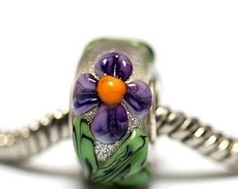 Large Hole Regalia Flower Rondelle - SC10108-Handmade Glass Lampwork Beads