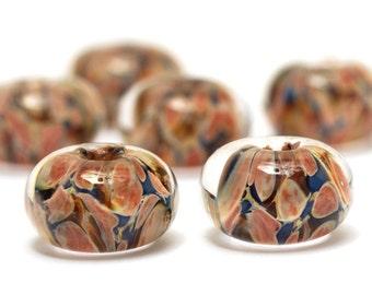 Handmade Glass Lampwork Bead Sets - Six Orange Rondelle Beads  - 10704921