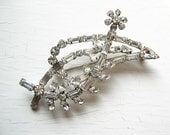 Large Clear Rhinestone Leaf Brooch  Pin 1950's 60's vintage