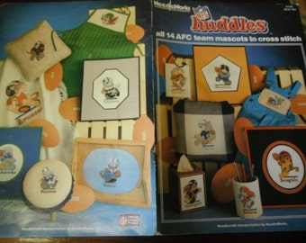 NFL Cross Stitch NFL Huddles all 14 AFC Team Mascots Needleworks 704 Counted Cross Stitching Leaflet
