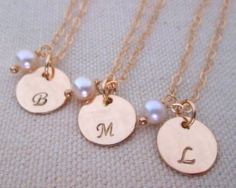Bridemaid Necklaces - Gold Bridesmaid Jewelry - Initial Necklace - Personalized Bridesmaid Jewelry