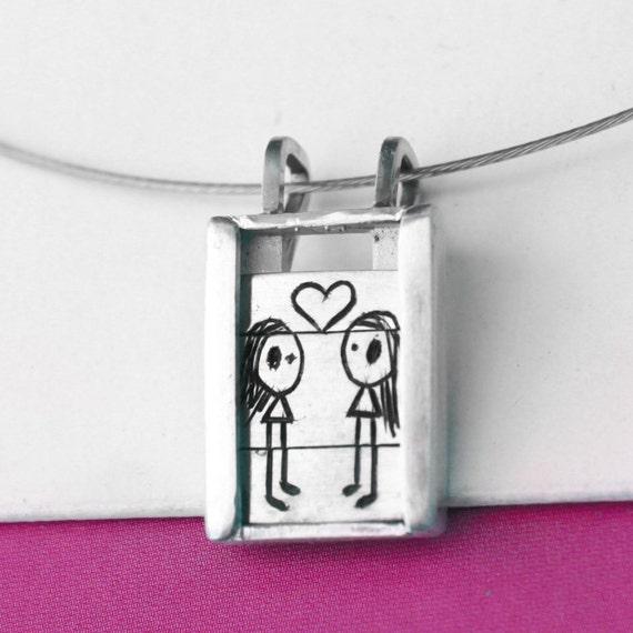 Girls in Love - Slider Pendant- sterling silver