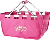 Large Personalized Monogrammed Collapsible Market Tote  HOT PINK
