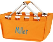 Large Personalized Monogrammed Collapsible Market Tote  ORANGE