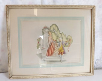 Vintage 1940s framed print colonial print lady and gentleman courting couple