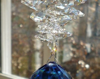 """Dark Sapphire Crystal Ball (30mm) Topped with Clear Crystal Octagons - All Swarovski - """"CATHERINE"""" - Rainbow Maker for Your Window"""