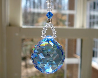 """Swarovski Crystal Ball Sun Catcher Car Accessory, Rearview Mirror Car Charm -  Available in 14 Colors, 2 Lengths - """"LITTLE SIMPLICITY"""""""