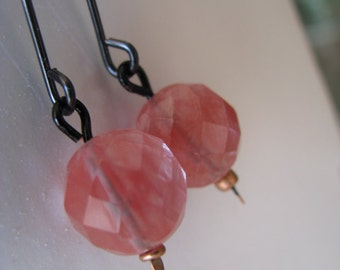 Pink and Black Earrings, Cherry Quartz Orbs and Black Metal Earrings, Pink Quartz, Candy Pink Earrings