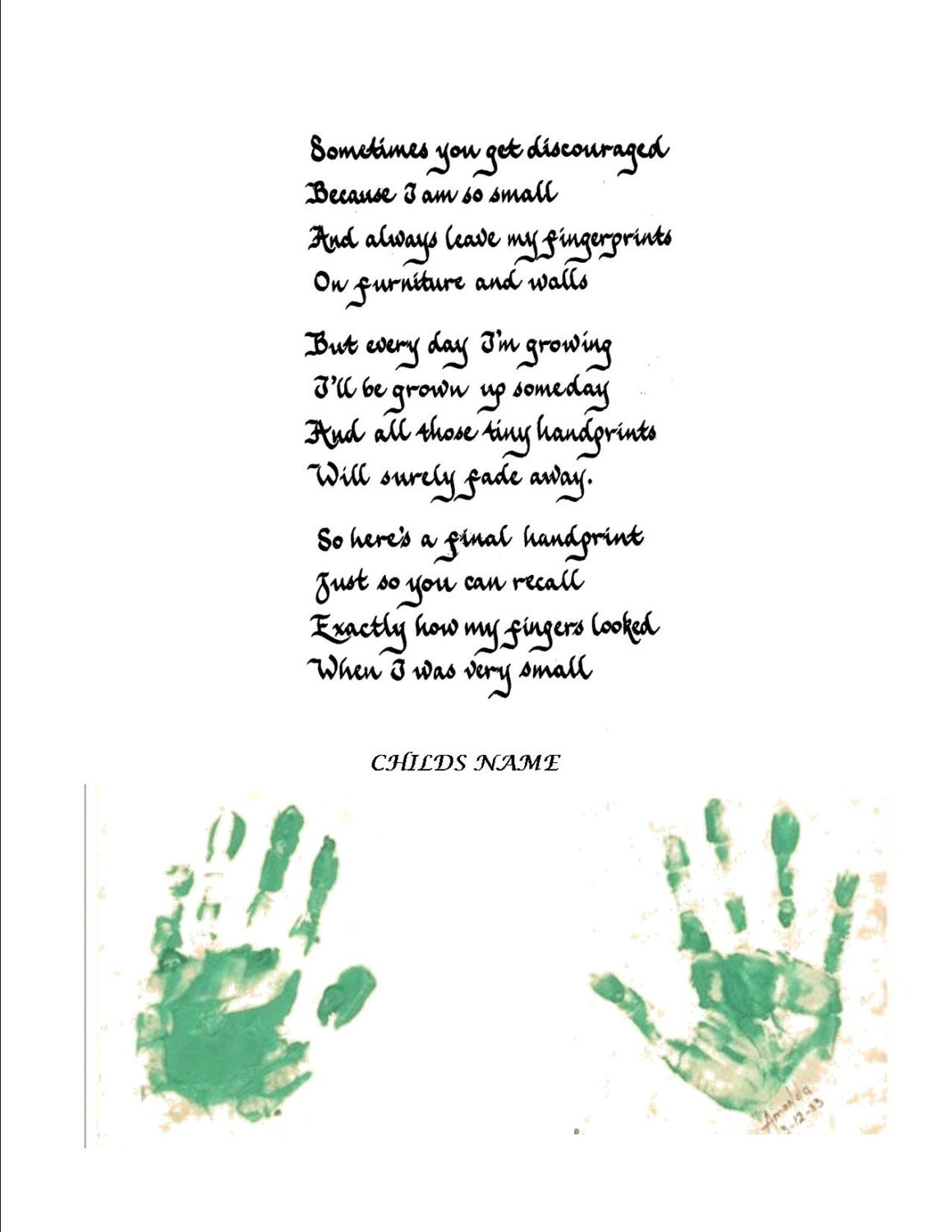 Calligraphy Handprint Poem Ready for Your by CalligraphicArtisan