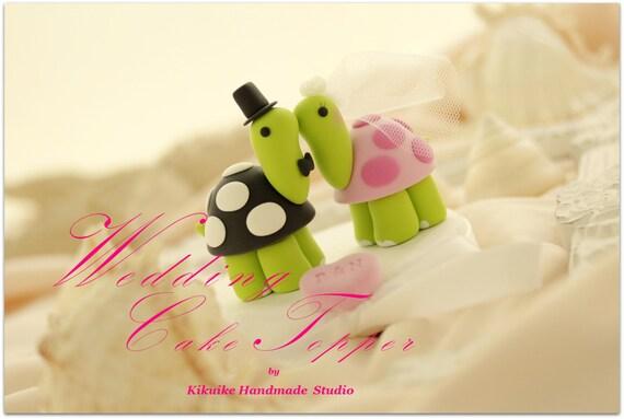 turtles Wedding Cake Topper, turtles cake topper---k635