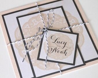 Lace Wedding Invitation - Vintage Wedding Invitation - Elegant Wedding Invitation - Romantic Invitation - Blush Pink Wedding - Lucy Sample