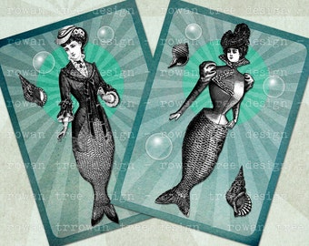 Digital Collage Sheet MORE COLLAGED MERMAIDS Victorian Sirens 2.5x3.5in - no. 0213