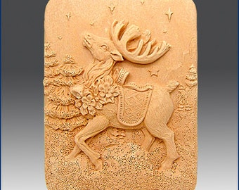 2D Silicone Soap Mold - Prancer the Reindeer