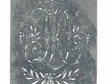 Antique Tin Stencil Two Letters Larger in Size, many to choose from Monograms  rj rh fl rl rw sa sb