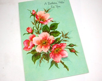 Beautiful Vintage Birthday Greeting Card, Fantusy, Pink Flowers, Happy Birthday   (2337)