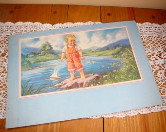 Vintage Print Little Boy, Young Sailor, Sailboat, Mid Century Picture, Ready To Frame Childen's Print   (5241)