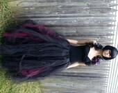 Burgundy and Black Cyber Gothic Formal Alternative Wedding Tulle Skirt all sizes MTCoffinz