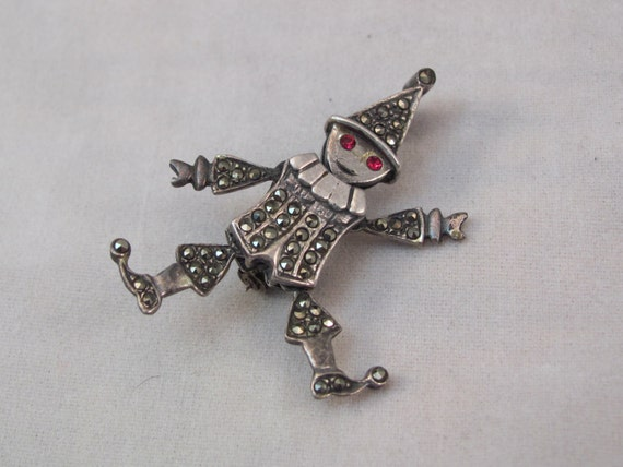 Articulated Clown or Jester Brooch Sterling Silver with Marcasite and Red Eyes