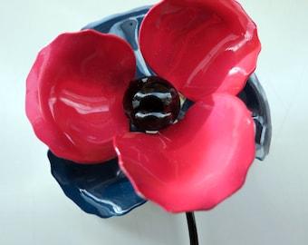 Vintage Enamel  Flower Pin Brooch Pink Blue Teal Stem