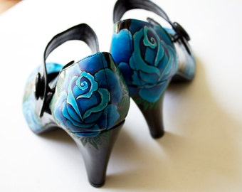 Hand painted heels - Blue Roses, Customize Your Shoes - Kezbirdie