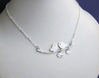 Family of 4 Birds on Branch Necklace - Parents, Family, Daughter, Children Necklaces  (R4B)