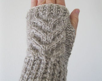 EASY PATTERN Stag Horn Cabled Fingerless Gloves download now!