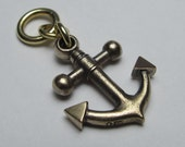small ANCHOR NECKLACE solid bronze with antiqued brass ball chain