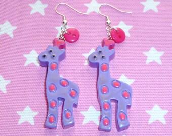 Kawaii Giraffe Earrings - Purple and Pink On Sale