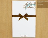 Personalized Blue Flower Notepad Stationery - 50 sheets